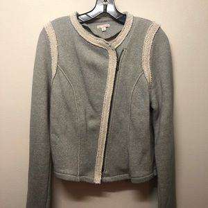 Gap grey and cream knit moto zip jacket.
